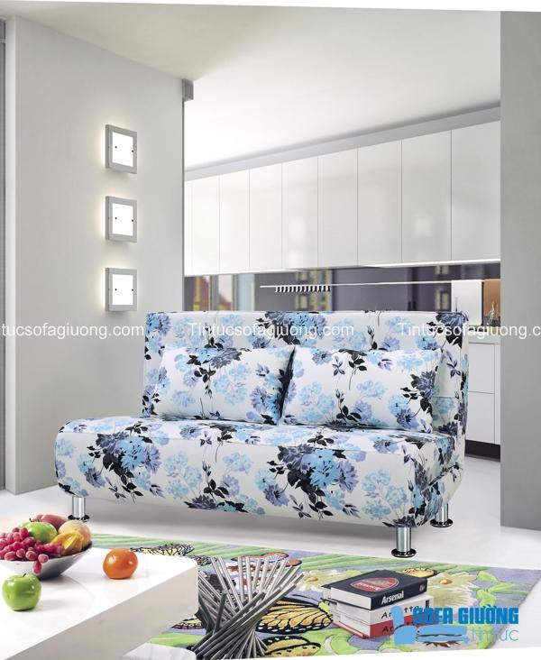 Mẫu sofa giường nhập khẩu họa tiết hoa mang đến vẻ tươi mới cho không gian sống