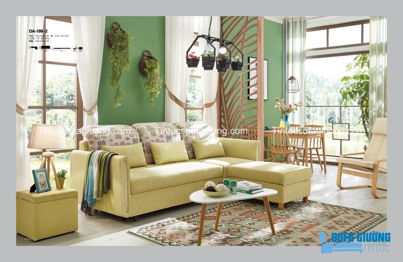 Mang sự trong trẻo và tươi sáng đến không gian sống, đó chính là sắc xanh và vàng của sopha giường